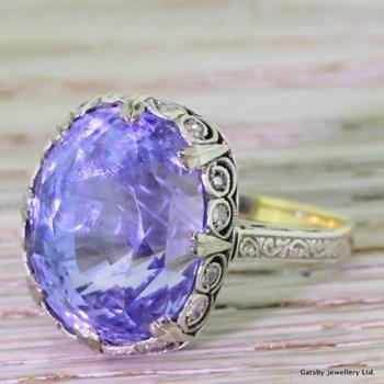 Edwardian 15.79 Carat Natural Ceylon Sapphire Ring, circa 1910