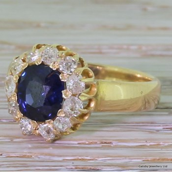 Victorian 1.25 Carat Sapphire & Diamond Cluster Ring, circa 1900