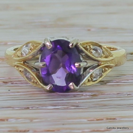 Art Nouveau Amethyst & Diamond Ring, circa 1900
