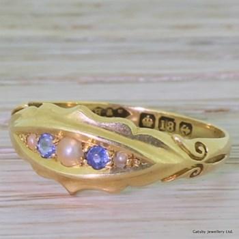 Victorian Sapphire & Pearl Five Stone Ring, circa 1895