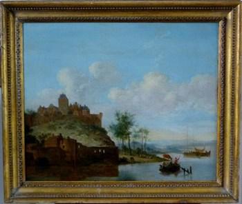 A Riverside Town c. 1780; Dutch School. (c. 1780 Netherlands)
