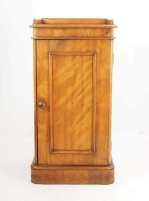 Antique Victorian Satin Walnut Bedside Cabinet by Maple & Co