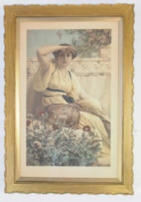 Large Antique Framed Print After John William Godward [British 1861-1922]