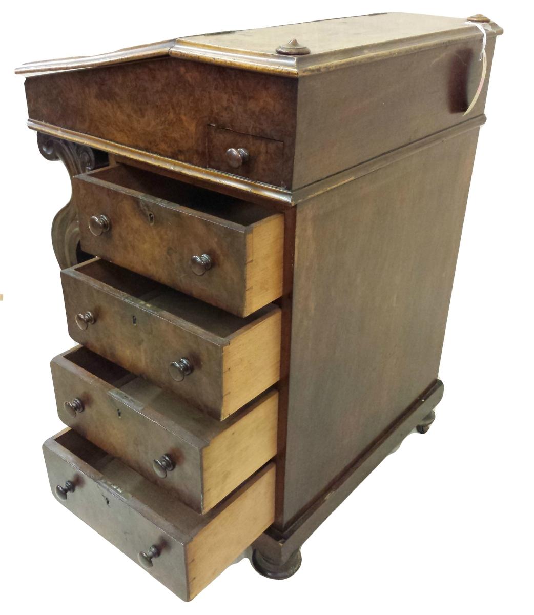 ... Mid Victorian Burr Walnut Davenport Writing Desk ... - Mid Victorian Burr Walnut Davenport Writing Desk - The Antique