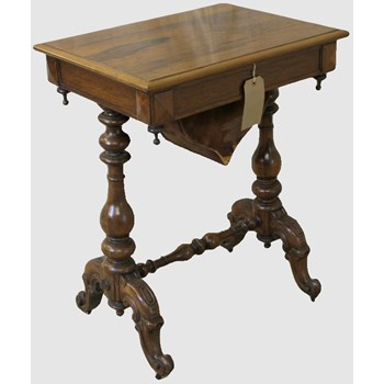 Mid-Victorian Antique Rosewood Sewing Work Table
