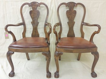 Pair of Walnut Queen Anne Style Open Armchairs