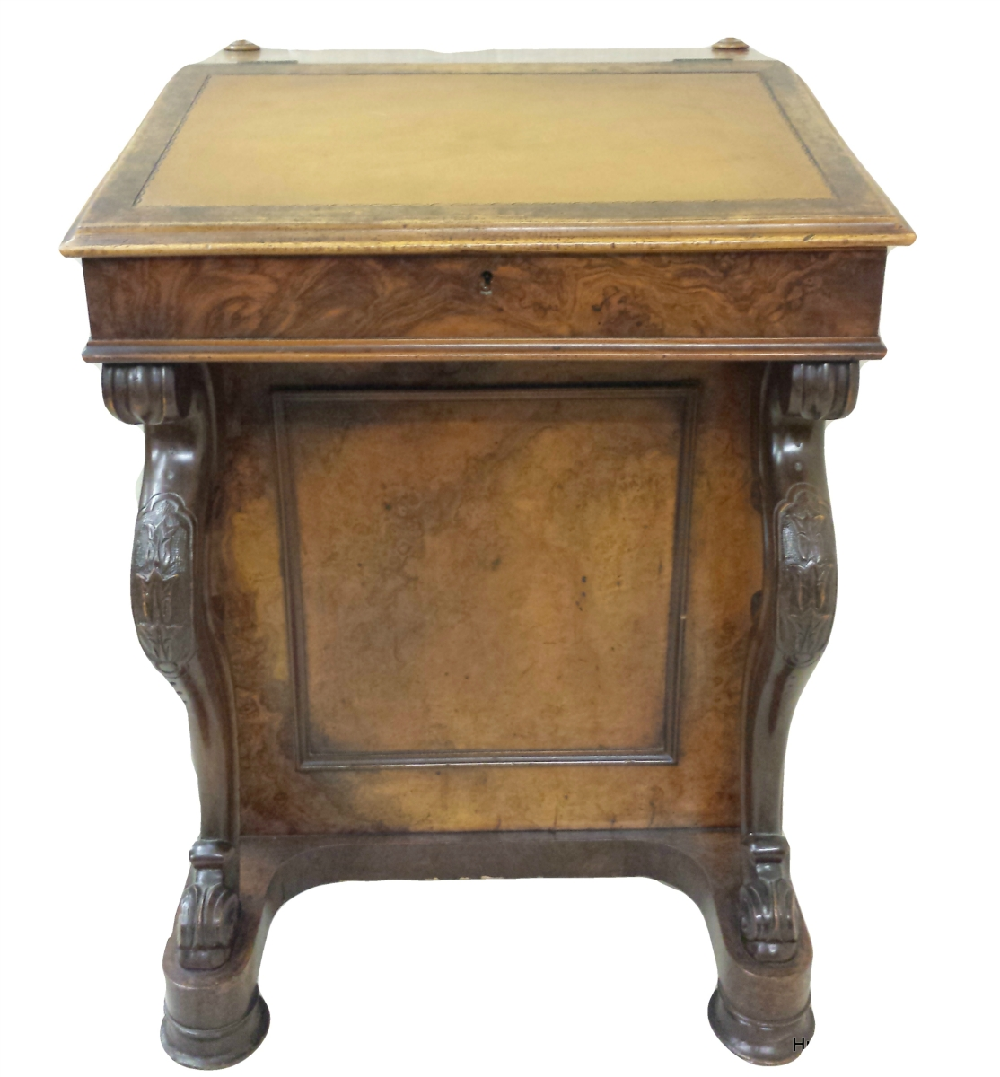 Mid Victorian Burr Walnut Davenport Writing Desk