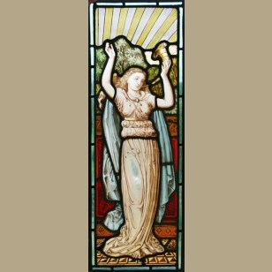 Victorian Leaded Hand Painted Stained Glass Panel