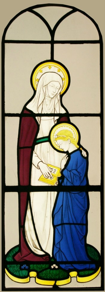 Antique Hand Painted Stained Glass Window - The Virgin with St Anne - By Sir Ninian Comper