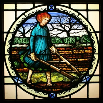 Arts & Crafts Edwardian Hand Painted Stained Glass Window