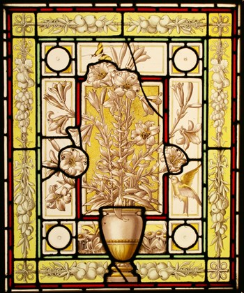 Antique Victorian Leaded Hand Painted Stained Glass Window - Urn & Lilies