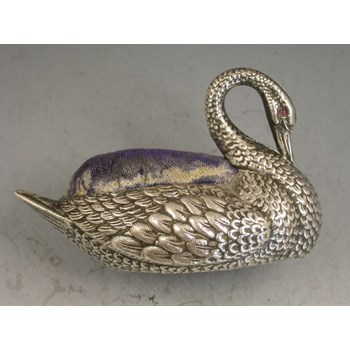 Early 20th century Novelty silver Swan Pin Cushion