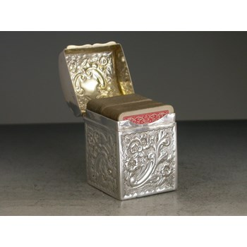 VICTORIAN CHASED SILVER MINIATURE TWIN PACK PLAYING CARDS BOX. CHESTER 1898.