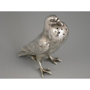 Victorian silver Novelty Pepper formed as a 'Fancy Pigeon'