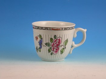 EARLY WORCESTER SPIRAL MOULDED COFFEE CUP WORCESTER PORCELAIN c1754 - 1756