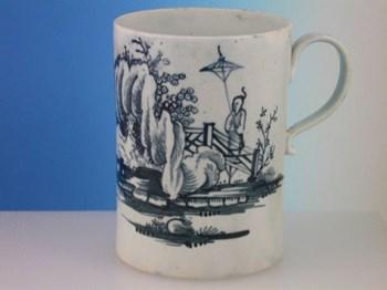 JOHN & JANE PENNINGTON LIVERPOOL MUG LIVERPOOL PORCELAIN c1770 - 1775.