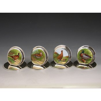 SET 4 EDWARDIAN SILVER & ENAMEL GAME BIRD MENU HOLDERS SAMPSON MORDAN & CO, CHESTER 1905 - 1906