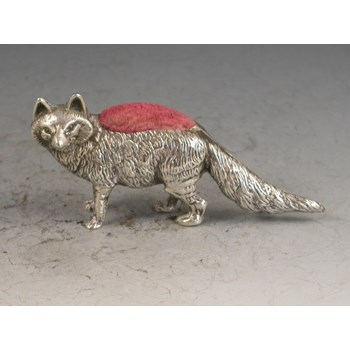 Edwardian novelty silver Fox Pin Cushion - By Levi & Salaman, Birmingham, 1905