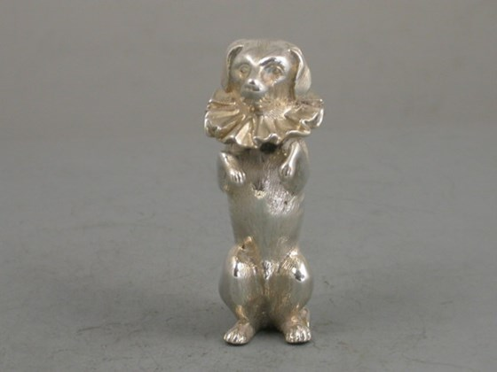 Victorian Novelty Silver Pepper, made in the form of Mr Punch's Dog Toby