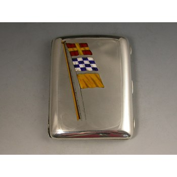 VICTORIAN SILVER & ENAMEL MARITIME FLAGS CIGARETTE CASE GEORGE HEATH, LONDON 1898