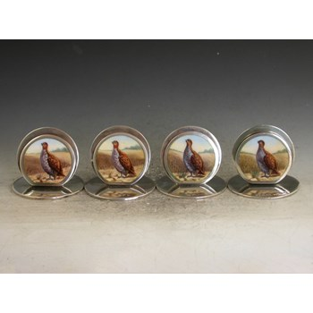 SET 4 EDWARDIAN SILVER & ENAMEL GAME BIRD MENU HOLDERS - ENGLISH PARTRIDGES