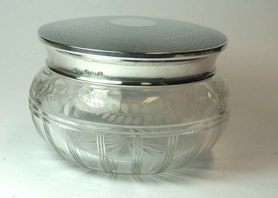 Very Fine Cut & Etched Glass Powder Jar with Solid Silver Engine Turned Lid.  Adie Bros.