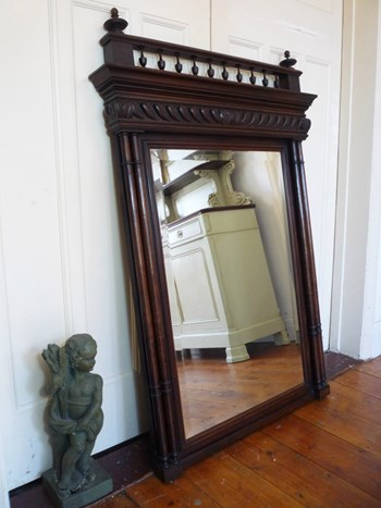 Large Antique Henri II Style French Oak Mirror with Finials