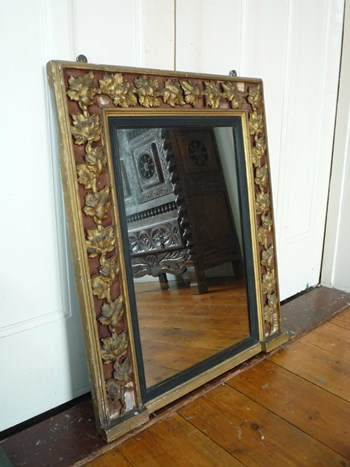 Early Victorian Gilded Mirror with Vine Leaf Decoration