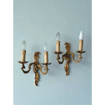 Pair of French Rococo Style Antique Brass Sconces