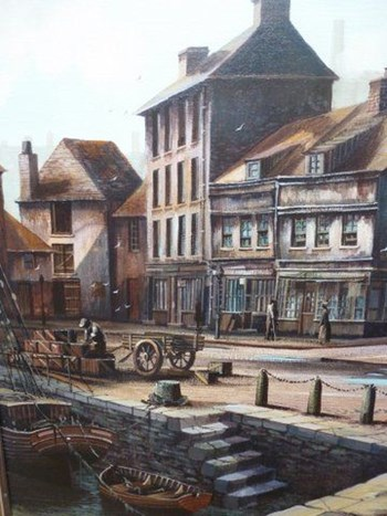 ORIGINAL LARGE OIL PAINTING OF 19TH CENTURY SCENE OF PADSTOW QUAYSIDE CORNWALL.