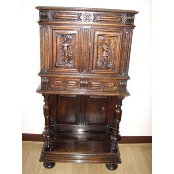 CARVED OAK LIVERY CABINET ON STAND LATE 18TH CENTURY.