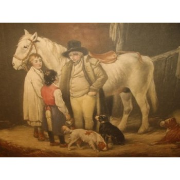 VICTORIAN PRINT AFTER SHAYLER OF HORSE AND DOGS IN A BARN SETTING 25.75 X 20 INCHES.