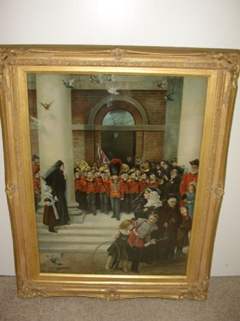 VICTORIAN COLOURED PRINT UNDER GLASS OF A CHILDRENS BRASS BAND.