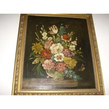 DUTCH STILL LIFE FLOWER OIL PAINTING VICTORIAN 19TH CENTURY.