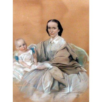 PASTEL & GOUACHE VICTORIAN PORTRAIT PAINTING OF MOTHER HOLDING YOUNG CHILD.