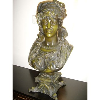 ART NOUVEAU PERIOD COLD CAST ENAMEL PAINTED FRENCH BRONZE BUST OF A MAIDEN.