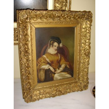 WILLIAM. IV. OIL PORTRAIT OF MARY QUEEN OF SCOTS PAINTING ON WOODEN PANEL.