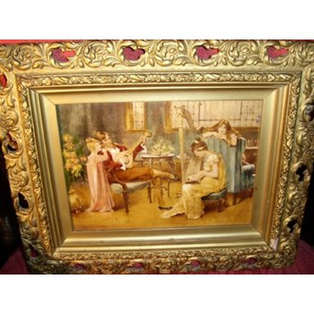19TH CENTURY VICTORIAN GENRE OIL PAINTING OF FAMILY ENJOYING A MUSICAL EVENING.