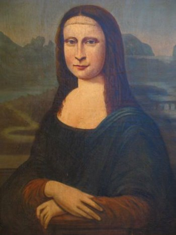 18TH CENTURY MONA LISA OLD MASTER PORTRAIT PAINTING OIL ON CANVAS.