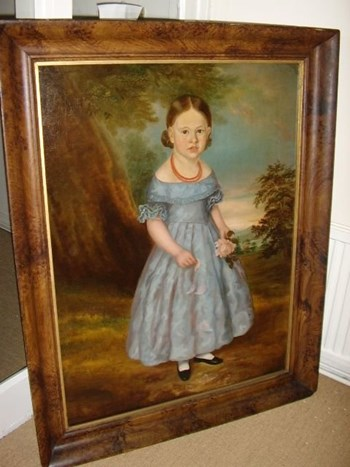 GEORGIAN OIL PORTRAIT OF YOUNG GIRL IN BLUE DRESS.