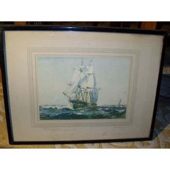 "QUALITY PRINT OF SAILING SHIP SIGNED ON BORDER BY ARTIST "" G.S.BAGLEY "" C1900 17 X 13 INCHES."