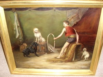 "CIRCUS OIL PAINTING TITLED "" THE REHEARSALS "" OF BOY TRAINING HIS DOGS & MONKEY."