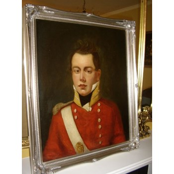 REGENCY OIL PORTRAIT OF BRITISH REDCOAT OFFICER C1820 ENGLISH SCHOOL PAINTING.