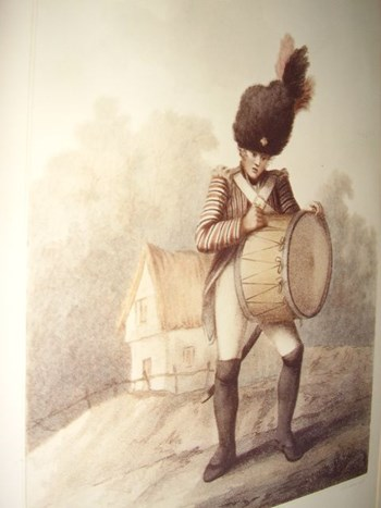 EARLY 19TH CENTURY CHROMO-LITHOGRAPH OF A DRUMMER BOY FIRST PUBLISHED LONDON.