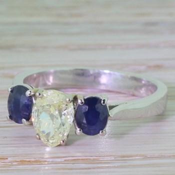 Victorian 1.10 Carat Old Pear Cut Diamond & Sapphire Trilogy Ring, circa 1870