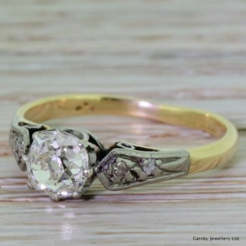 Edwardian 0.84 Carat Old Mine Cut Diamond Engagement Ring, circa 1905