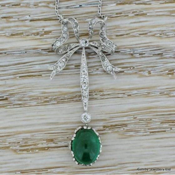 Edwardian Emerald & Old Cut Diamond Bow Necklace, circa 1910