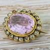 Victorian 5.25 Carat Pink Topaz & Rose Cut Diamond Brooch, circa 1900