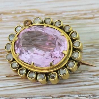 Victorian 5.25 Carat Pink Topaz & Rose Cut Diamond Brooch, circa 1900