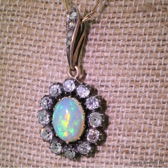 Victorian 2.00 Carat Opal & 2.00 Carat Old Mine Cut Diamond Pendant, circa 1890